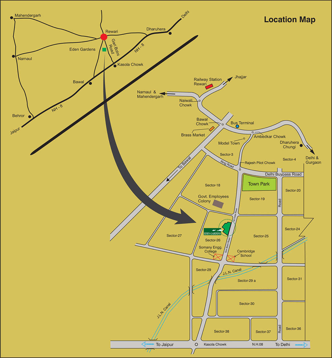 Eden Garden Location map in Rewari renowned for new apartments and flats