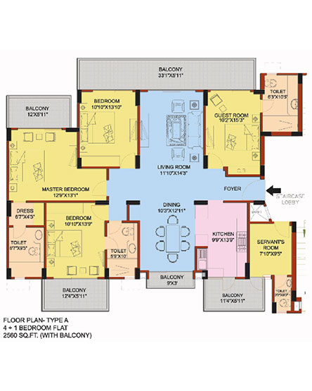 4 +1 Bedroom flat Floorplan