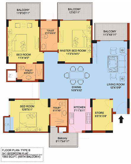 3 +1 Bedroom flat Floorplan