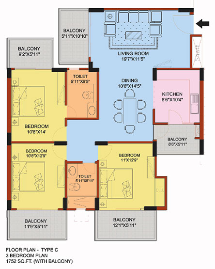 3 Bedroom flat Floorplan