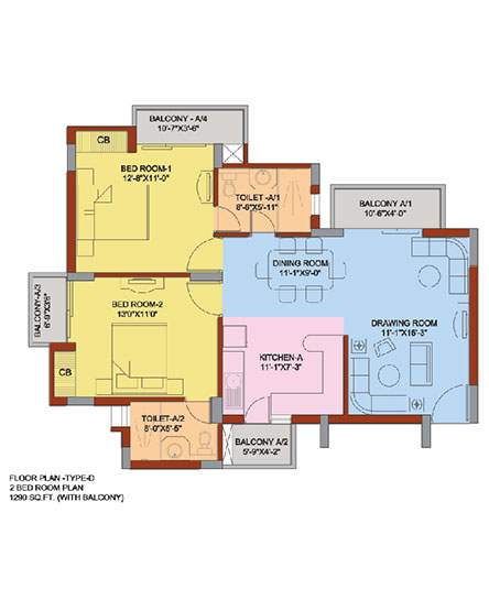 2 Bedroom flat Floorplan