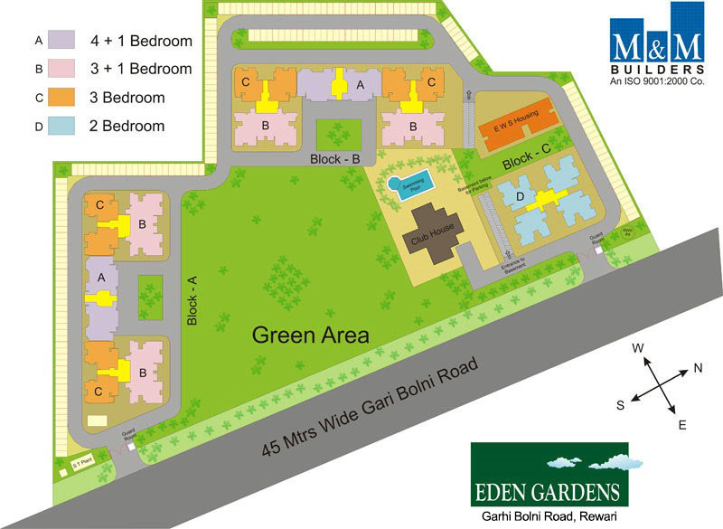 2, 3, 3 +1, 4 +1 bedrooms available for sale in Eden Garden Rewari